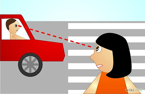 Eye contact between driver and pedestrian